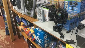 Camping fans and 12 volt accessories